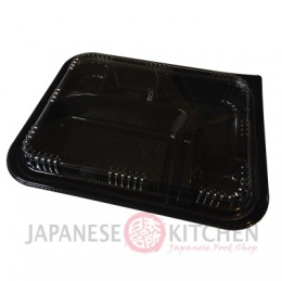 Disposable Bento Box with Snap-on Lid (Black) - 50 pcs