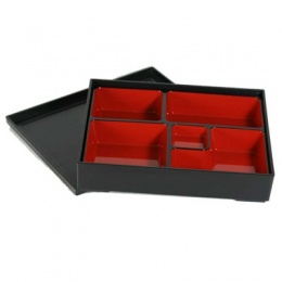 Bento Box (Plastic Lacquerware) - Rectangular, 5 compartments