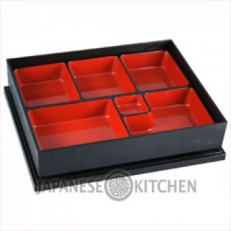 Bento Box (Plastic Lacquerware) - Rectangular, 6 compartments