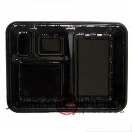 Disposable Bento boxes with loose lids (GLOSS BLACK) x 100pcs