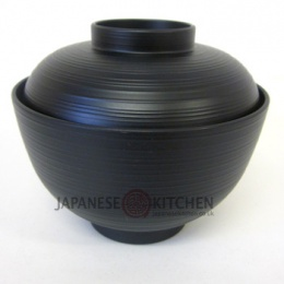 Miso Soup Bowl with Lid (Plastic lacquerware) - Black