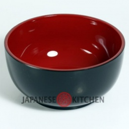 Soup/Noodle Bowl (Plastic lacquerware) - Plain black with red inner