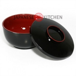 Soup/Noodle Bowl with lid (Plastic lacquerware) - Plain black with red inner
